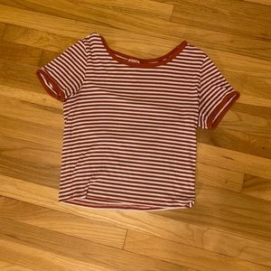 Cropped Red and White Striped Tee